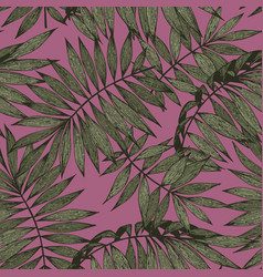 tropical branches on a pink background seamless vector image