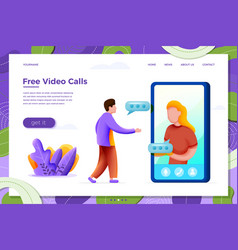 Video phone call girl with man vector