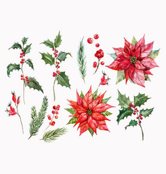 Watercolor christmas set vector