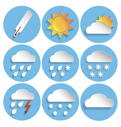 weather icon set paper style vector image