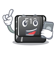 with phone button f12 on a keyboard mascot vector image