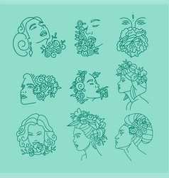 women faces with flowers on head continuous line vector image
