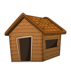 wooden house cartoon design isolated on white vector image