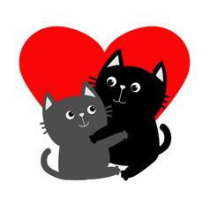 black gray cat hugging couple family hug vector image vector image