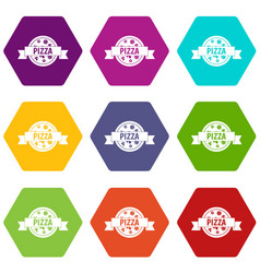 pizza label with ribbon icon set color hexahedron vector image vector image