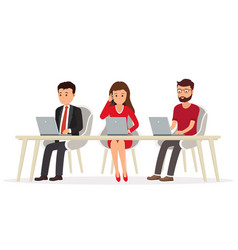 business people behind a desk working vector image