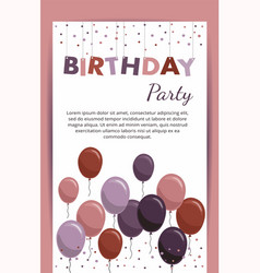 Happy birthday card with balloons birthday party vector