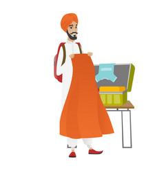 hindu traveler man packing suitcase vector image