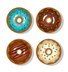set donuts blue white and chocolate sweet vector image vector image