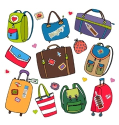 set of bags backpacks and suitcases vector image vector image