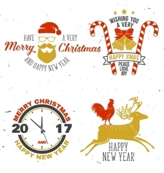Set of Merry Christmas and Happy New Year 2017 vector image vector image
