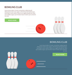 banner or cap for the site of a bowling club set vector image vector image
