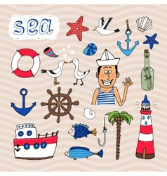 Hand drawn Nautical Elements vector image vector image