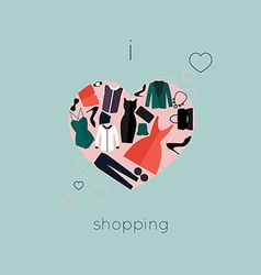 I Love Shopping icon vector image