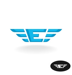 Letter E with wings logo Blue colors wide style vector image