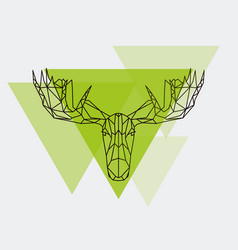 moose head geometric lines silhouette isolated vector image