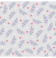 Seamless pattern with leaves and hearts vector image vector image