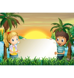 A boy and a girl holding an empty signboard vector image