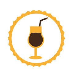 circular frame with cocktail drink vector image vector image