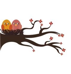 cute birds decorative card vector image