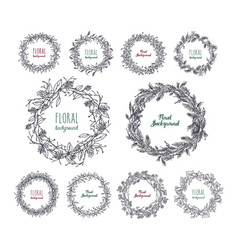 floral wreaths set hand drawn frames collection vector image vector image