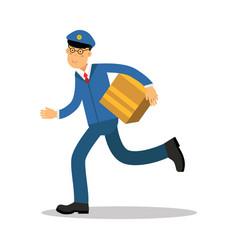 postman in blue uniform running delivering parcel vector image vector image