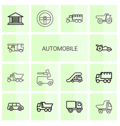 14 automobile icons vector image