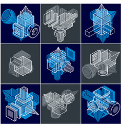 Abstract three-dimensional shapes set designs vector