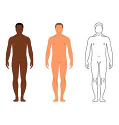 African and european men cartoon outline style vector