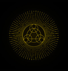 Alchemy gold geometry sign on black background vector