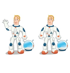 Astronaut in two poses vector