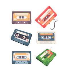 audio cassette retro stereo tape analogue music vector image