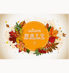 autumn sale flyer template with hand-drawn leafs vector image