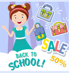 back to school sale concept background cartoon vector image