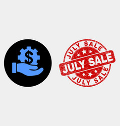 bank service hand icon and grunge july sale vector image