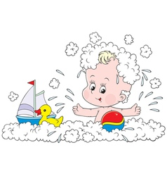 bathing toddler vector image