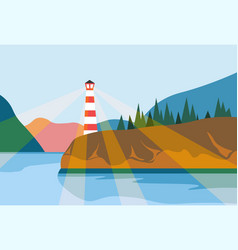 beacon on shore lighthouse navigation searchlight vector image