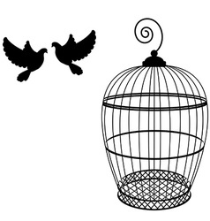 Birdcage and two pigeon vector image vector image