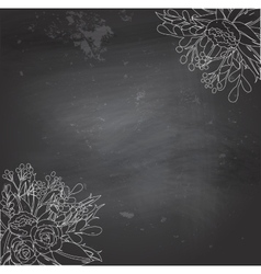 black chalkboard with flowers vector image