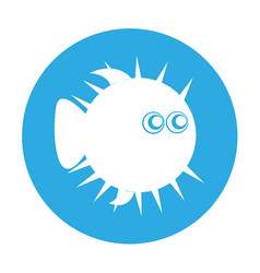 Blowfish silhouette isolated icon vector