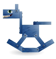 Blue wooden horse vector image