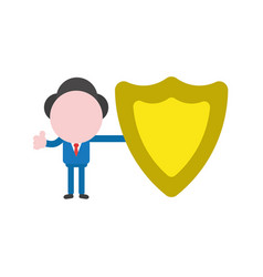 businessman character holding guard shield and vector image
