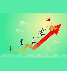 businessman running on coins graph to success vector image