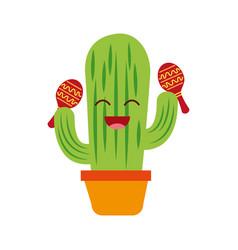 Cartoon happy potted cactus with maracas vector