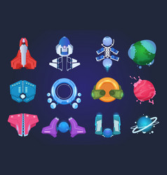 cartoon spaceships alien planets ufo rockets and vector image
