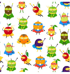 Cartoon vegetables and fruit superhero characters vector