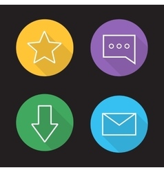 Chat app ui linear icons set vector