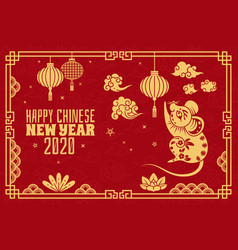Chinese new year 2020 red concept with vector