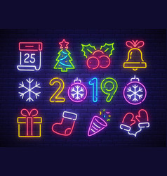 christmas icon set happy new year vector image