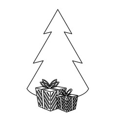 christmas season cartoons in black and white vector image